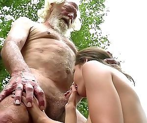 70 year old grandpa fucks 18 year old girl moans with pleasure and swallows 10 min