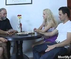 Perverted parents fuck their son\'s GF - 6 min