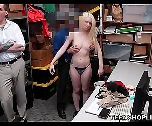 Young Blonde Teen Shoplifter Sex With Guard While Her Dad Is In The Room 8 min 720p