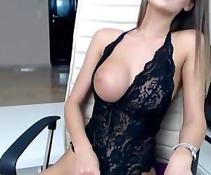 Perfect young brunette with perfect body and pussy fingering on webcam